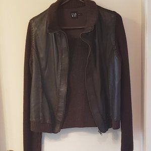 GAP Wool and leather zip up cardigan, brown, Sz L